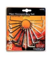 14 PIECE AF METRIC HEXAGON HEX KEY TOOL SET PACK HEAT TREATED MM AF RING